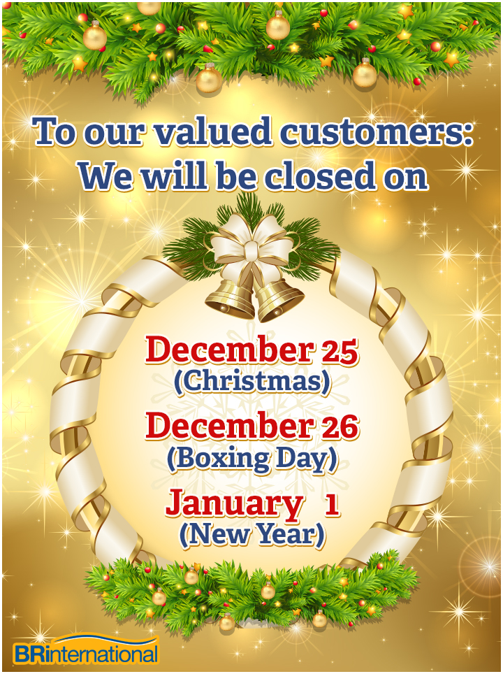Holiday closure dates for 2014